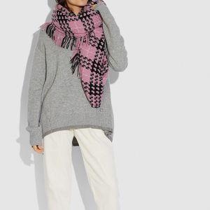 *NWT* Coach Plaid Print Blanket Scarf - Women's In Light Raspberry